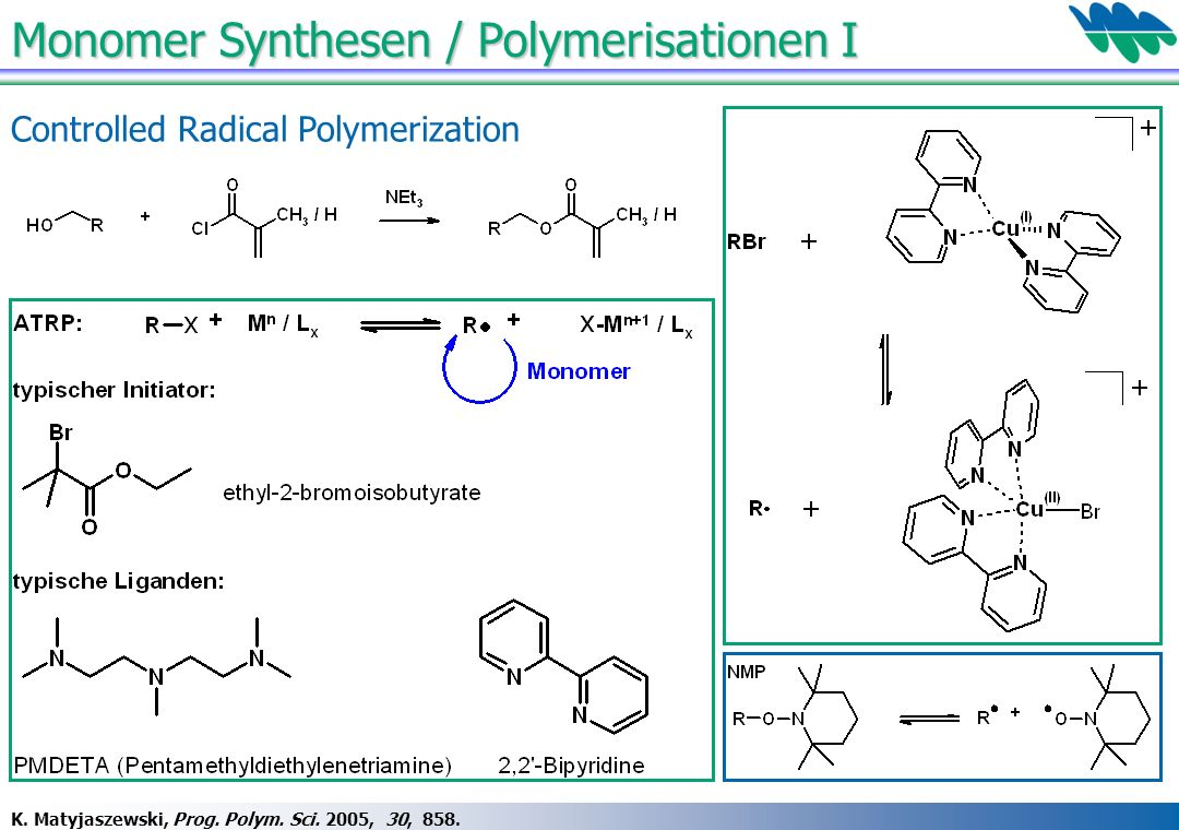 Monomer Synthesen / Polymerisationen I