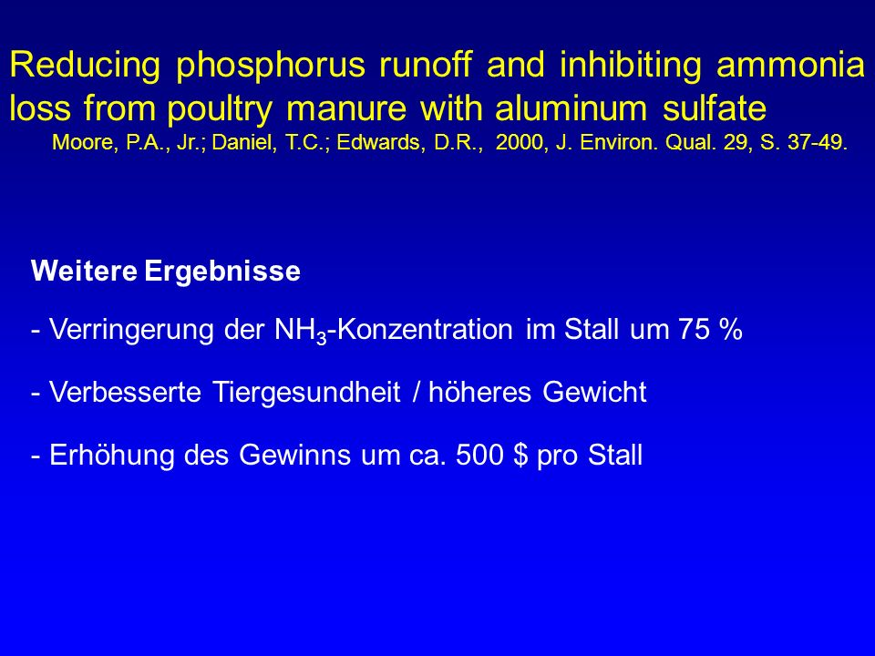 Reducing phosphorus runoff and inhibiting ammonia loss from poultry manure with aluminum sulfate