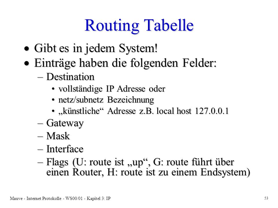 Routing Tabelle Gibt es in jedem System!