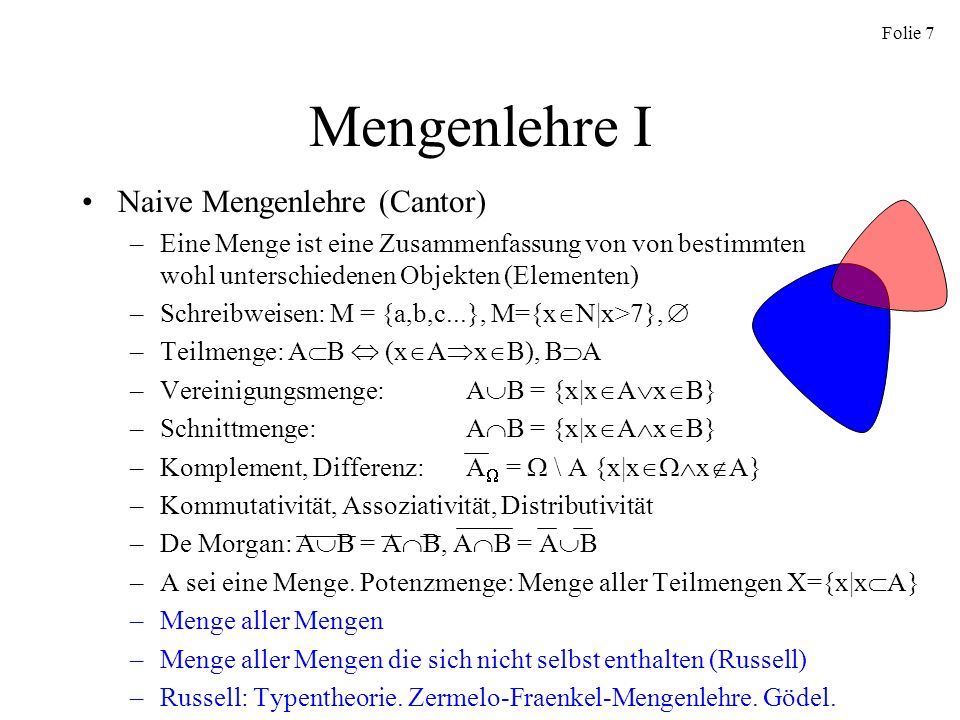 Mengenlehre I Naive Mengenlehre (Cantor)