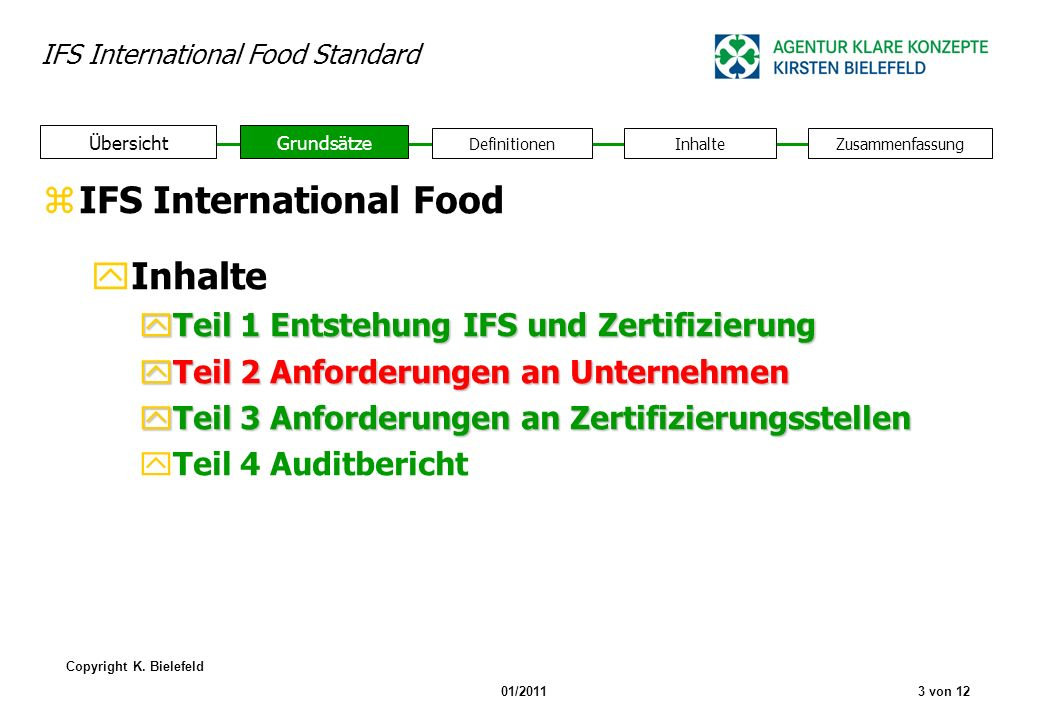 IFS International Food Inhalte