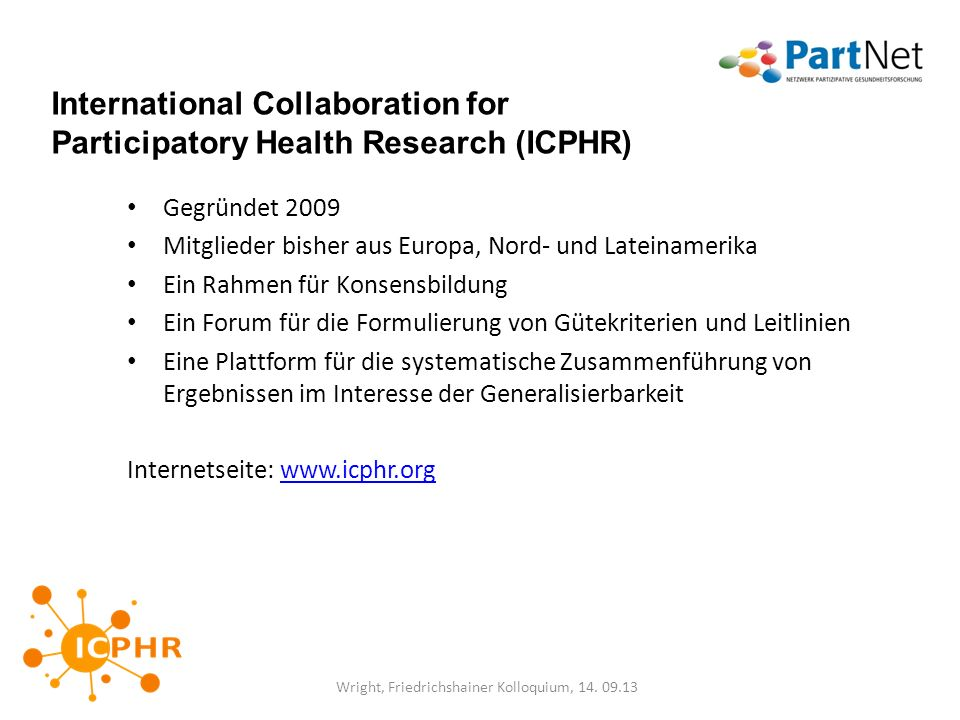 International Collaboration for Participatory Health Research (ICPHR)