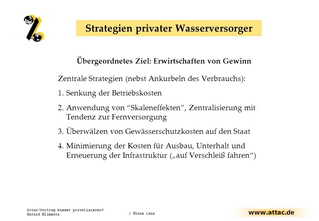 Strategien privater Wasserversorger