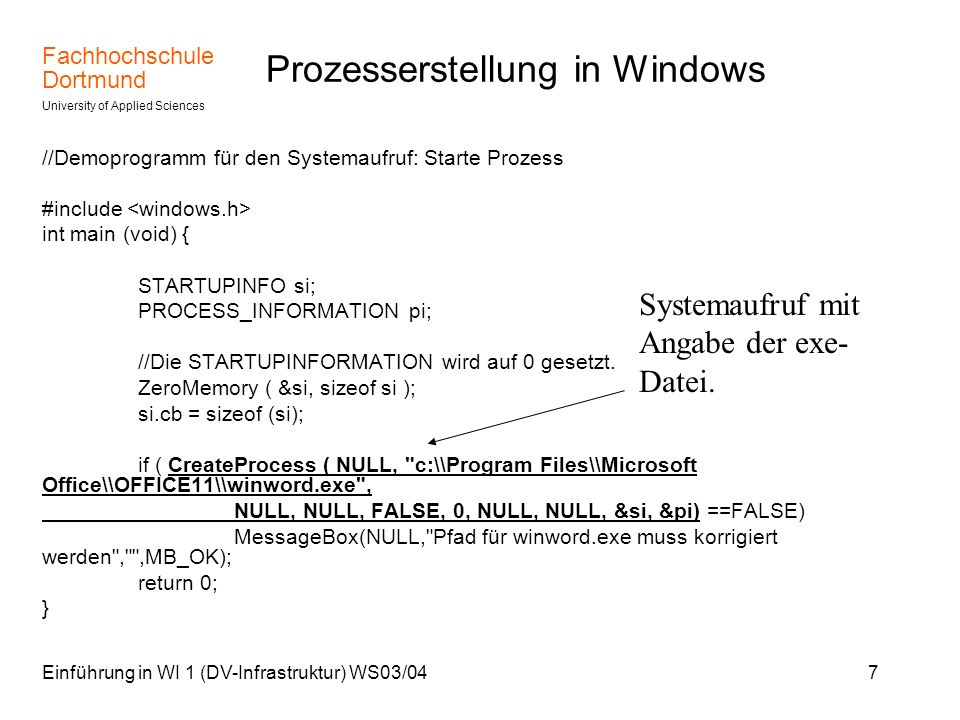Prozesserstellung in Windows