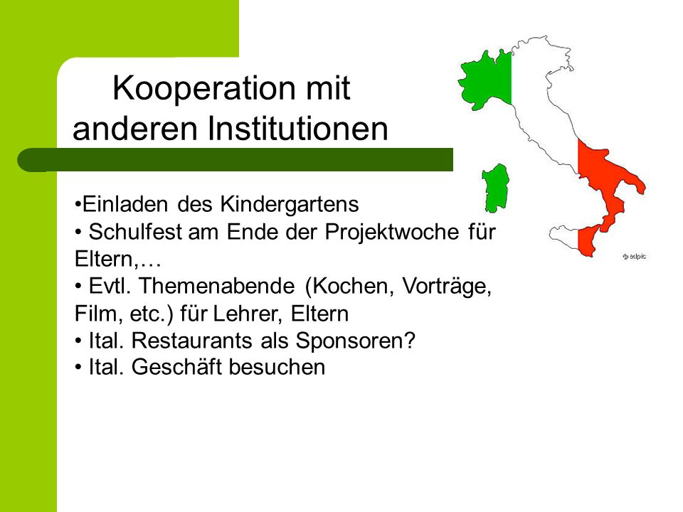 Kooperation mit anderen Institutionen