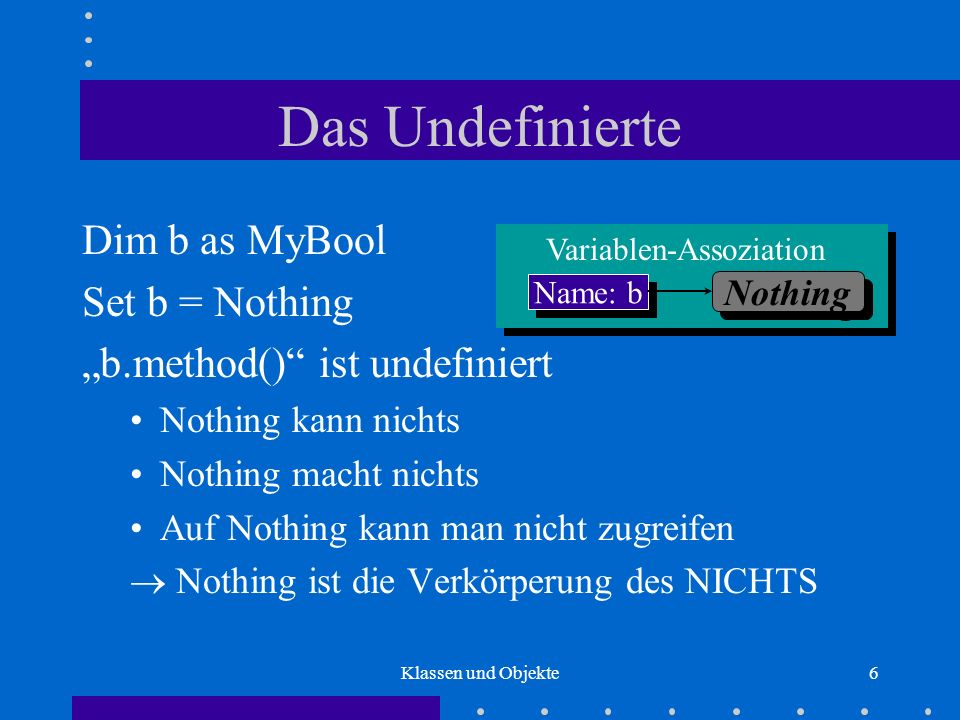Das Undefinierte Dim b as MyBool Set b = Nothing