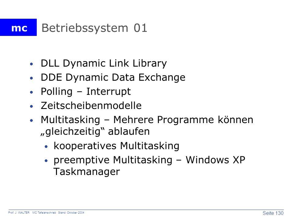 Betriebssystem 01 DLL Dynamic Link Library DDE Dynamic Data Exchange