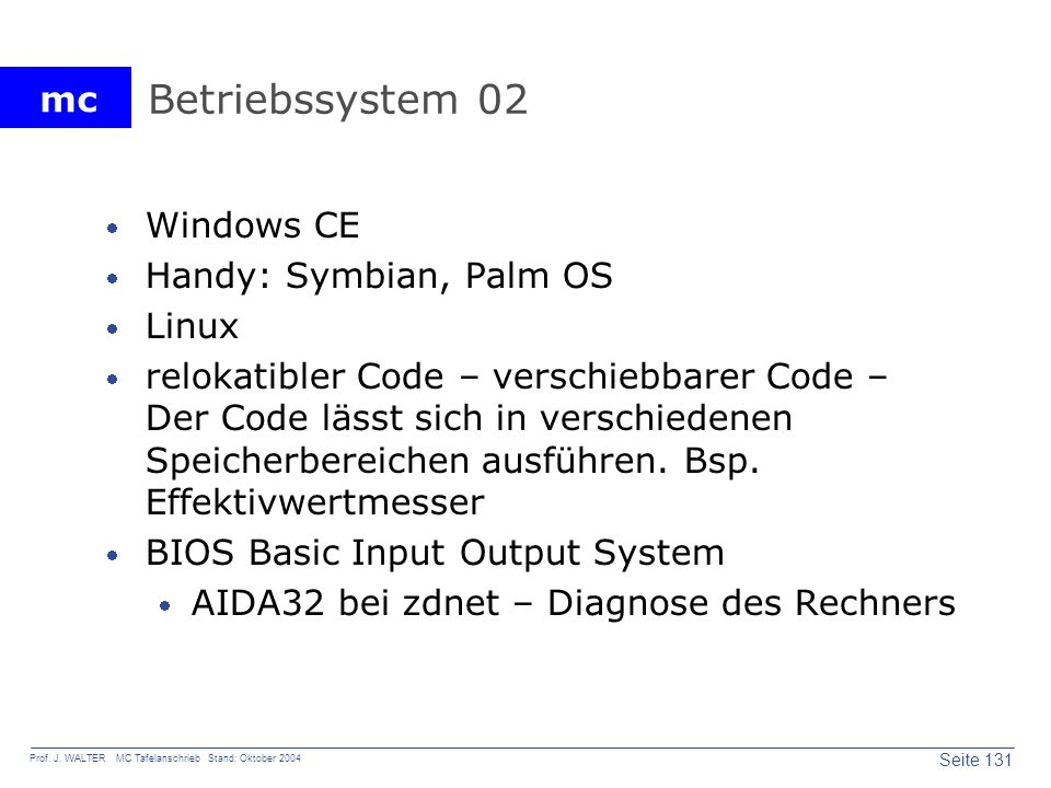 Betriebssystem 02 Windows CE Handy: Symbian, Palm OS Linux