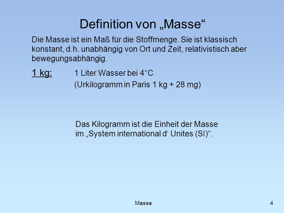"Definition von ""Masse"