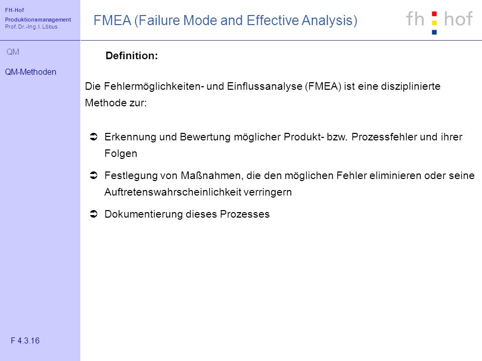 FMEA (Failure Mode and Effective Analysis)