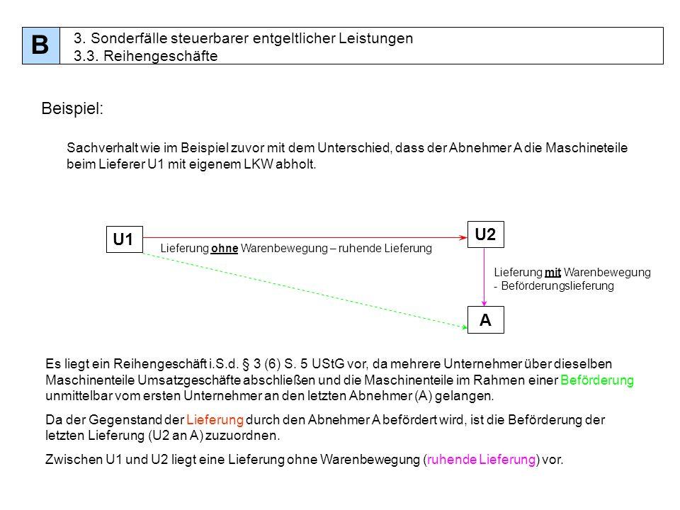 b 3 sonderflle steuerbarer entgeltlicher leistungen 33 reihengeschfte beispiel - Reihengeschaft Beispiele