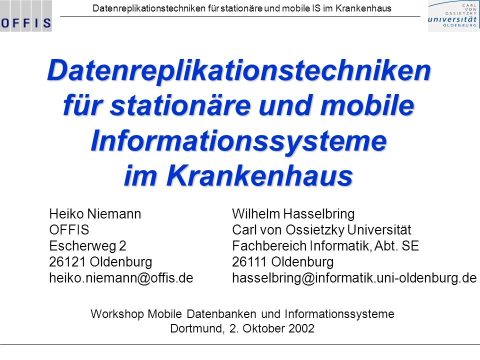 Workshop Mobile Datenbanken und Informationssysteme