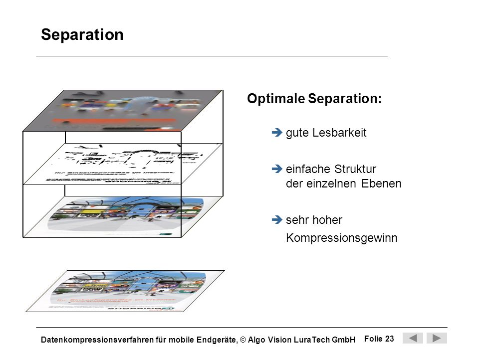 Separation Optimale Separation: gute Lesbarkeit
