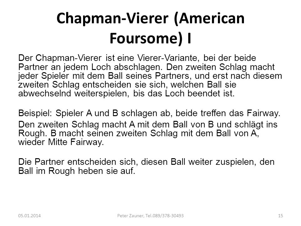 Chapman-Vierer (American Foursome) I