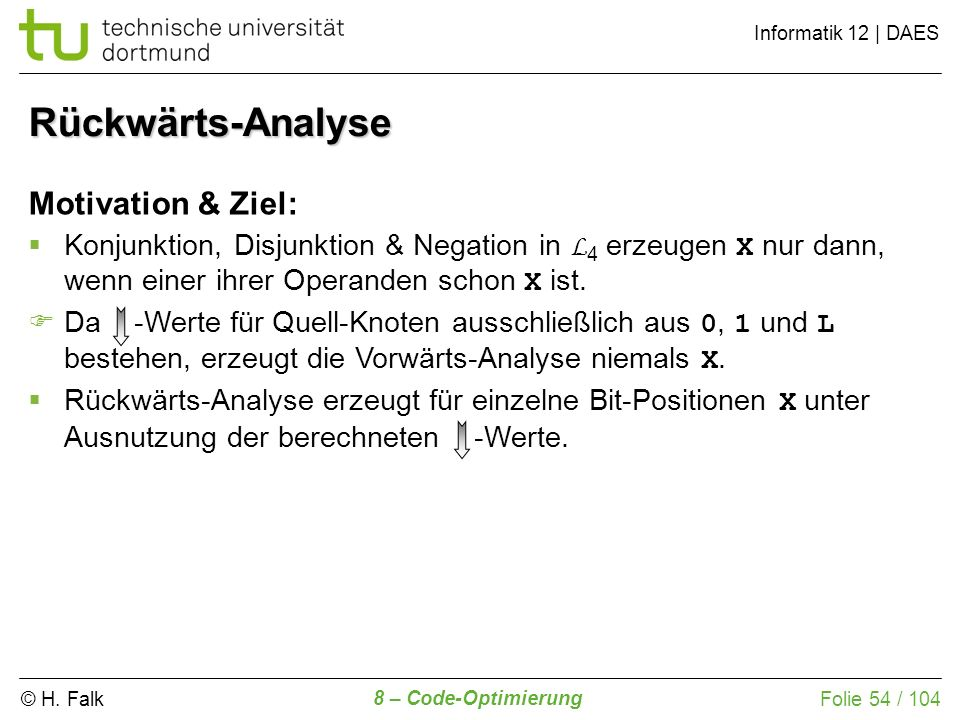 Rückwärts-Analyse Motivation & Ziel: