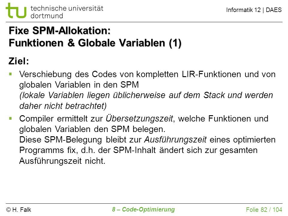 Fixe SPM-Allokation: Funktionen & Globale Variablen (1)