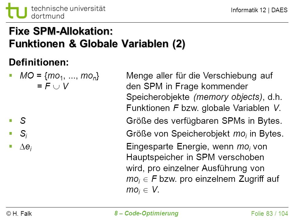 Fixe SPM-Allokation: Funktionen & Globale Variablen (2)