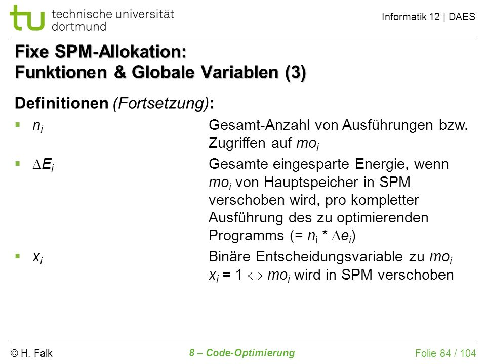 Fixe SPM-Allokation: Funktionen & Globale Variablen (3)