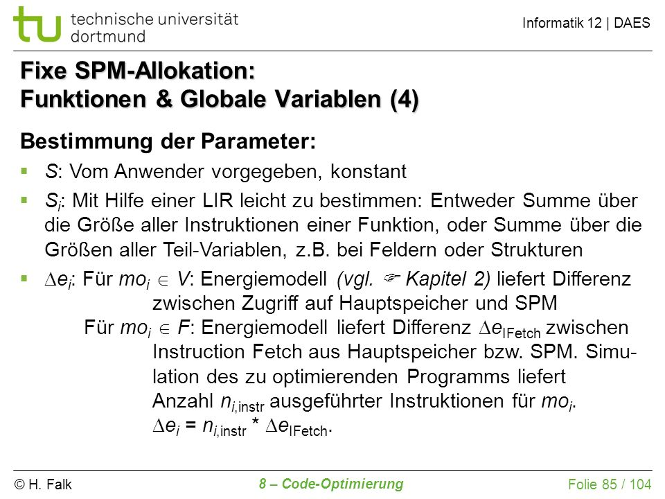 Fixe SPM-Allokation: Funktionen & Globale Variablen (4)