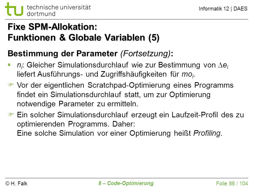 Fixe SPM-Allokation: Funktionen & Globale Variablen (5)