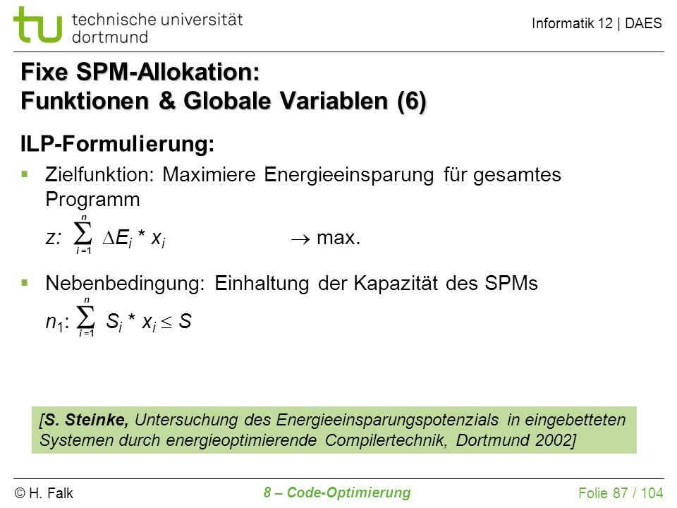 Fixe SPM-Allokation: Funktionen & Globale Variablen (6)