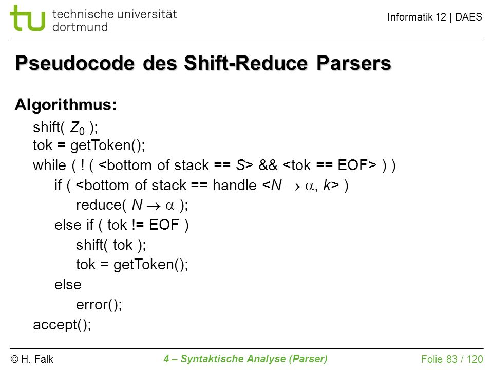 Pseudocode des Shift-Reduce Parsers
