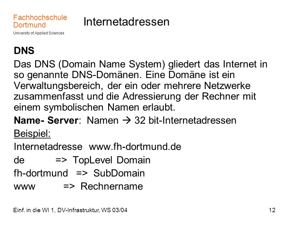 Internetadressen DNS.