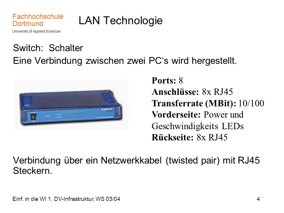 LAN Technologie Switch: Schalter