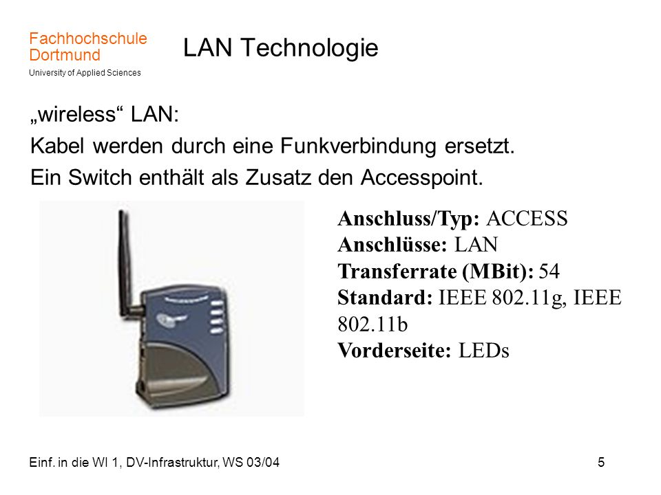 "LAN Technologie ""wireless LAN:"