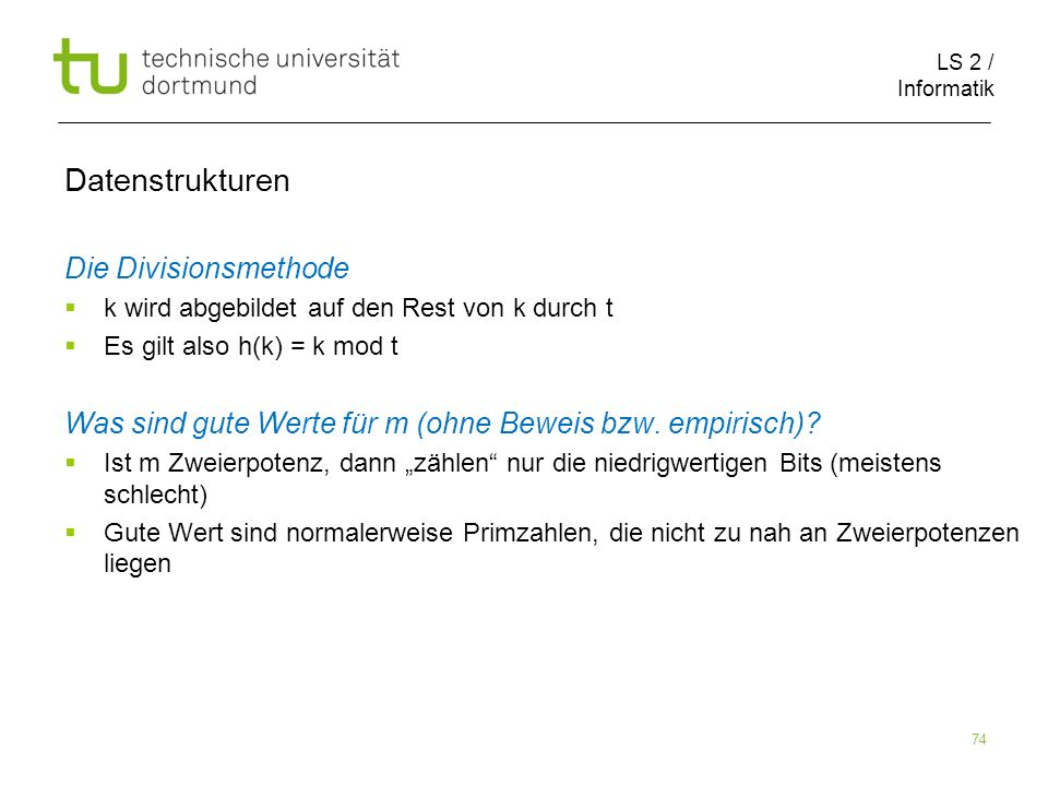 Datenstrukturen Die Divisionsmethode
