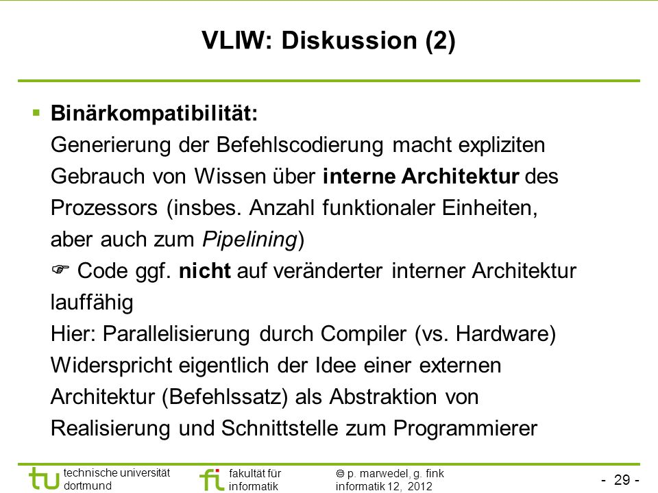 VLIW: Diskussion (2)