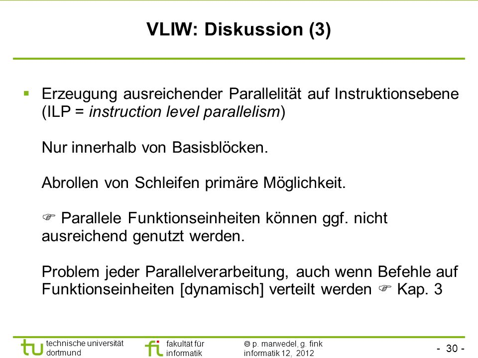 VLIW: Diskussion (3)