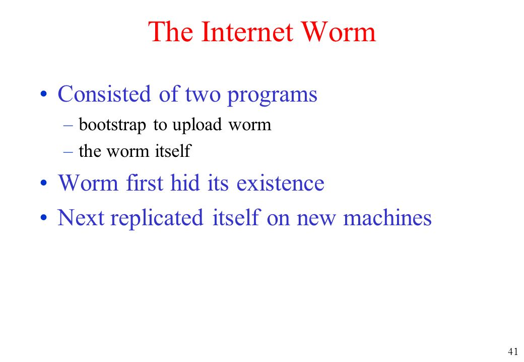 The Internet Worm Consisted of two programs