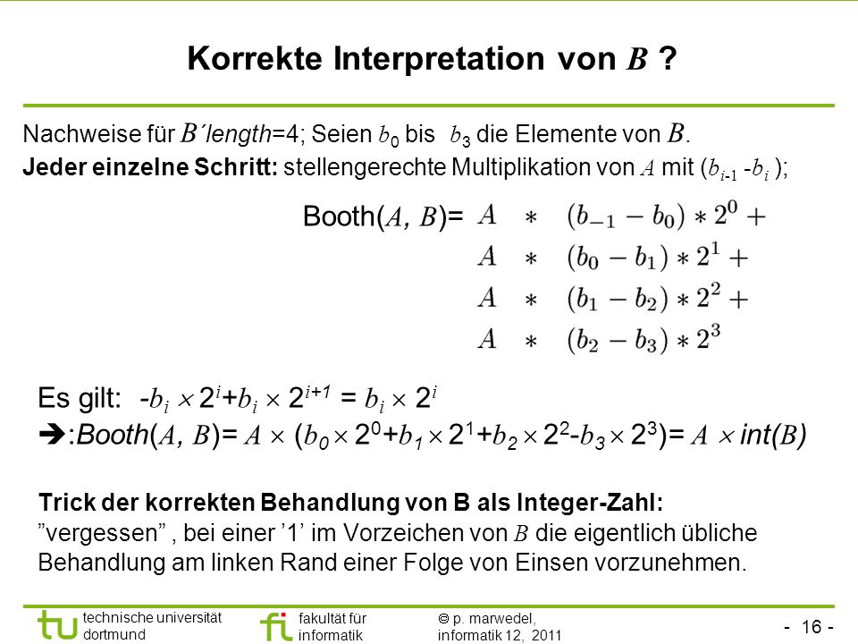 Korrekte Interpretation von B