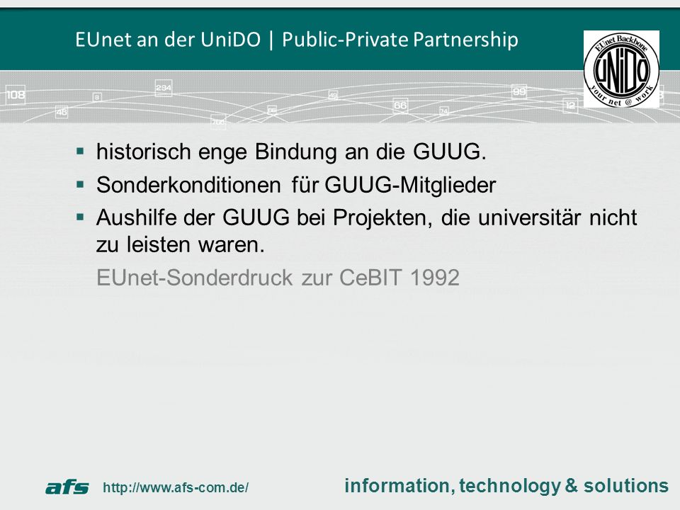 EUnet an der UniDO | Public-Private Partnership