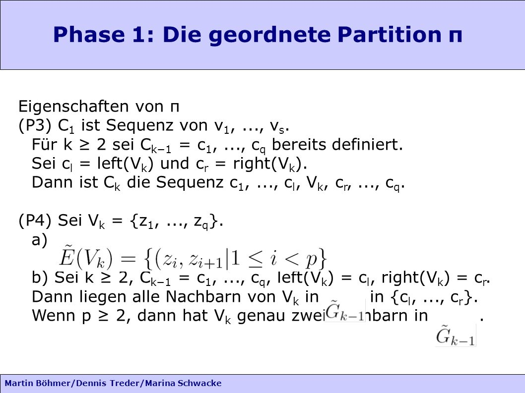 Phase 1: Die geordnete Partition π