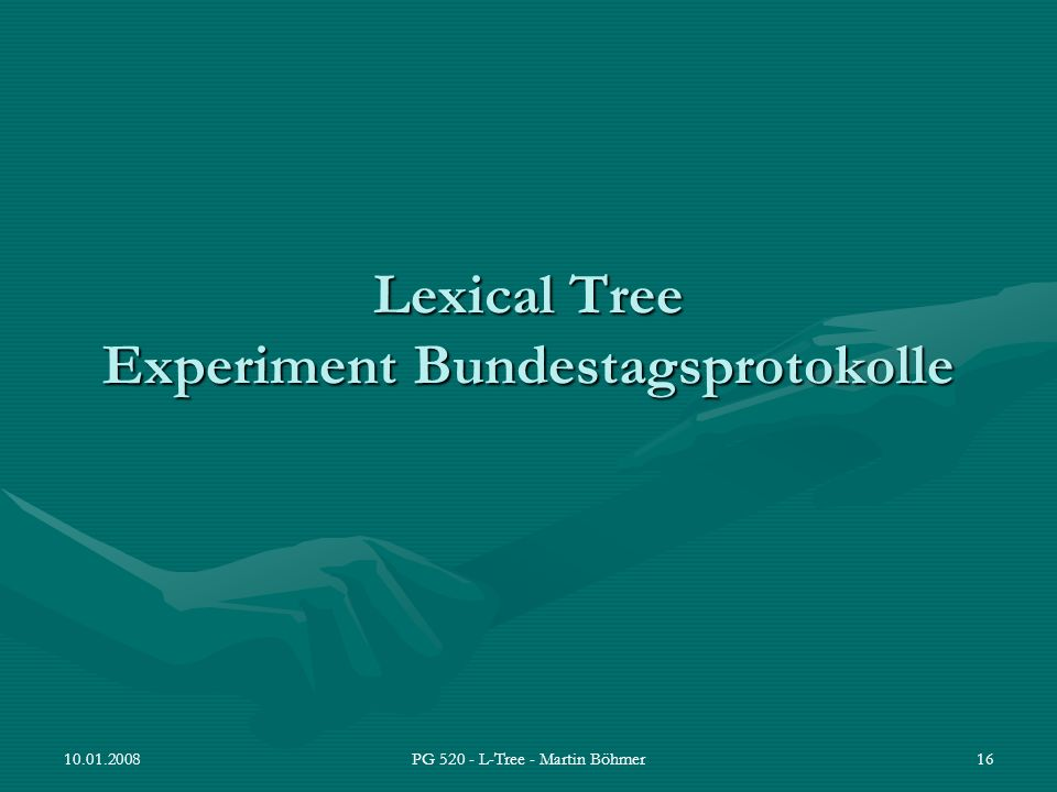 Lexical Tree Experiment Bundestagsprotokolle