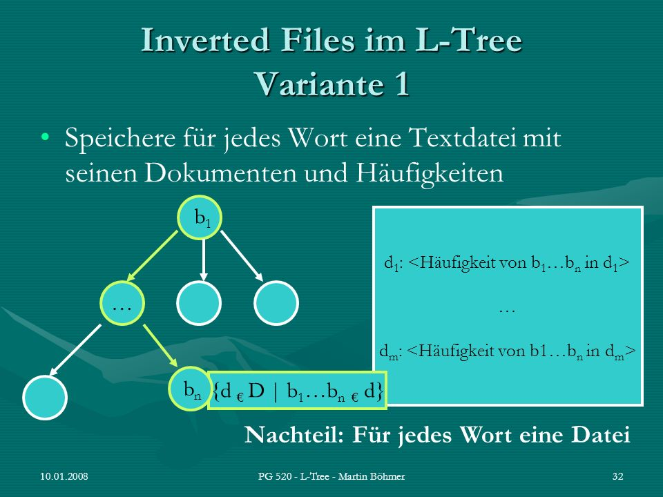 Inverted Files im L-Tree Variante 1