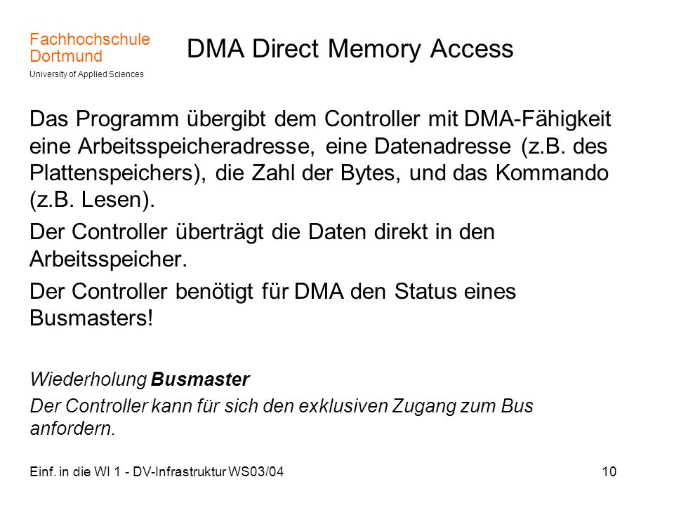 DMA Direct Memory Access