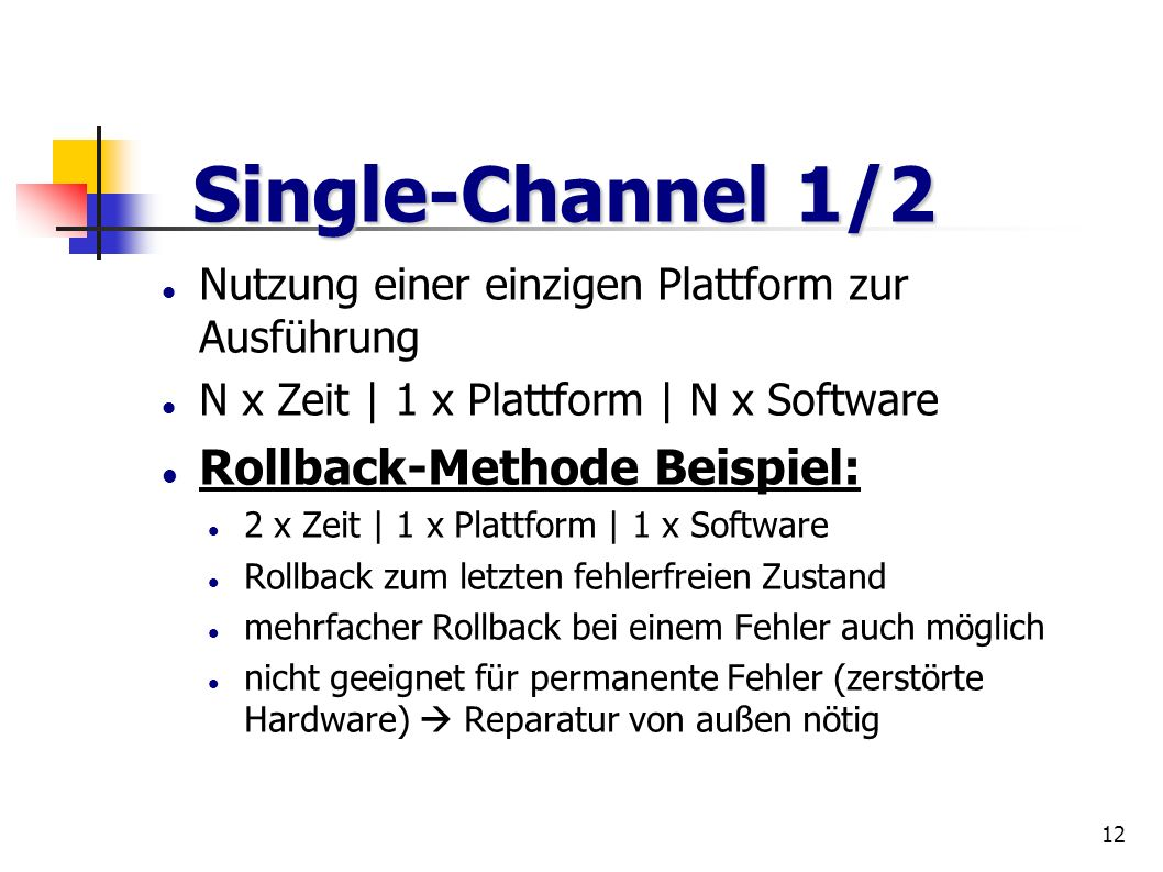 Single-Channel 1/2 Rollback-Methode Beispiel:
