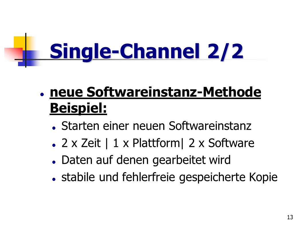 Single-Channel 2/2 neue Softwareinstanz-Methode Beispiel: