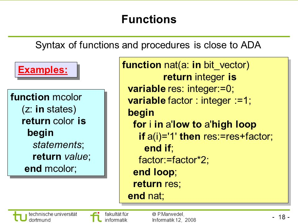 Functions Syntax of functions and procedures is close to ADA