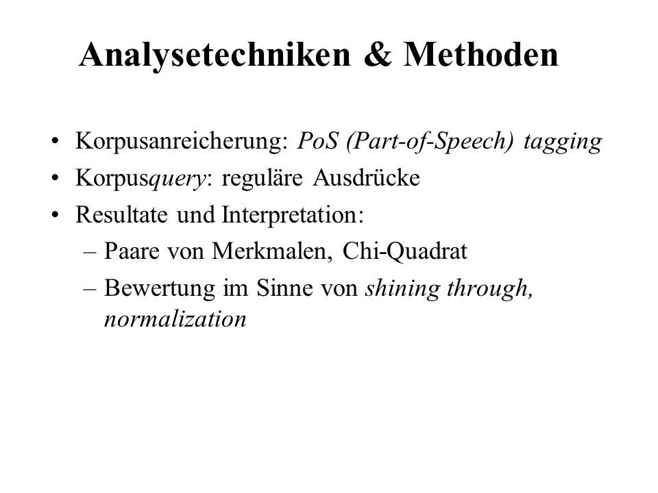 Analysetechniken & Methoden
