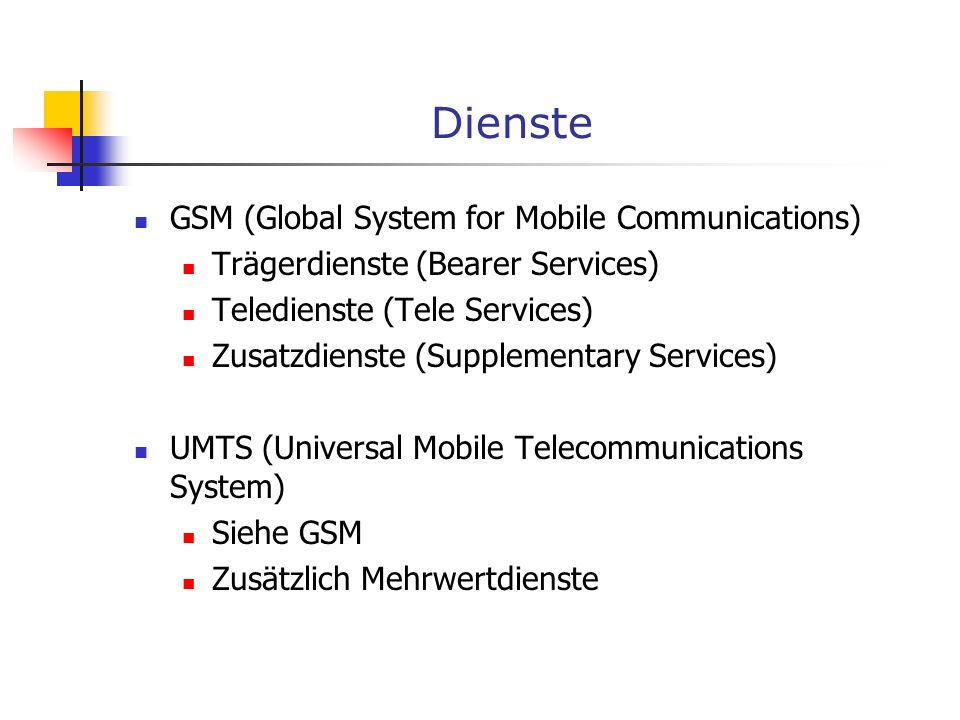 Dienste GSM (Global System for Mobile Communications)