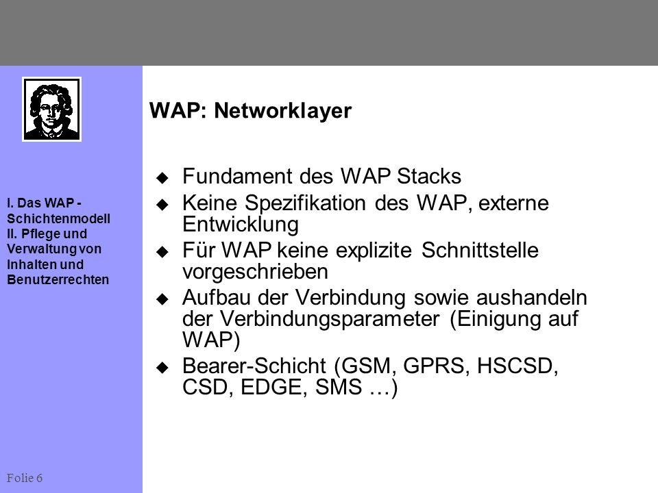 WAP: Networklayer Fundament des WAP Stacks. Keine Spezifikation des WAP, externe Entwicklung. Für WAP keine explizite Schnittstelle vorgeschrieben.