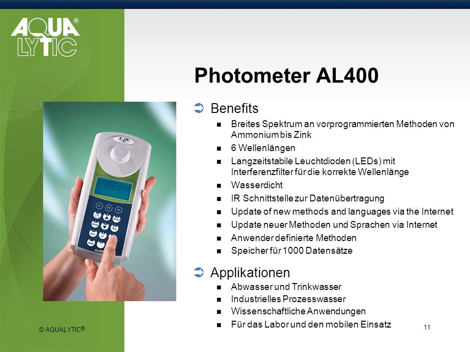 Photometer AL400 Benefits Applikationen