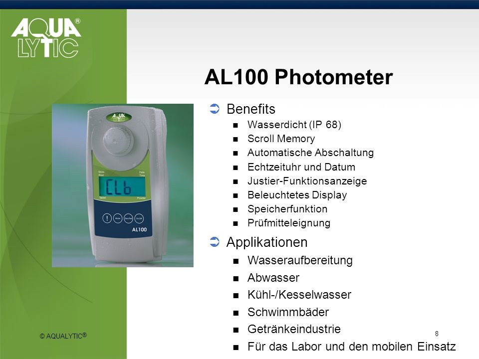AL100 Photometer Benefits Applikationen Wasseraufbereitung Abwasser