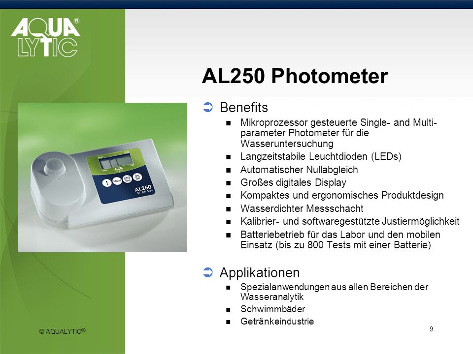 AL250 Photometer Benefits Applikationen