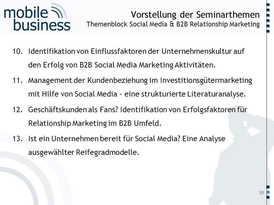 Vorstellung der Seminarthemen Themenblock Social Media & B2B Relationship Marketing