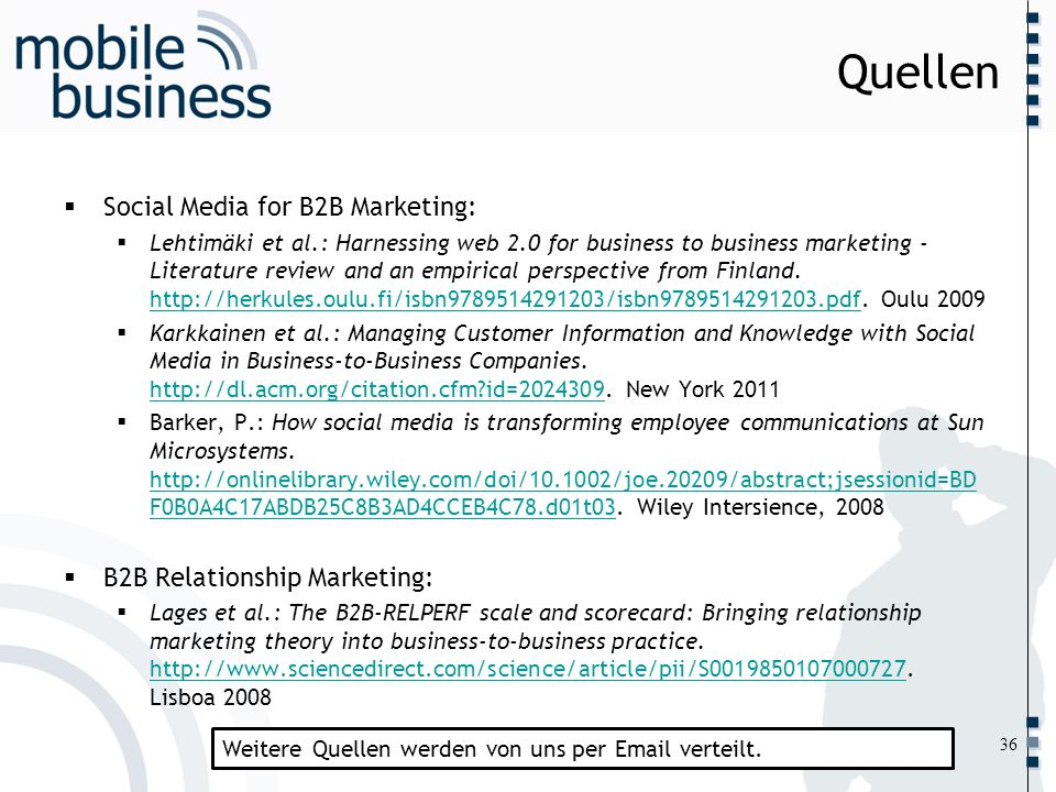 Quellen Social Media for B2B Marketing: B2B Relationship Marketing: